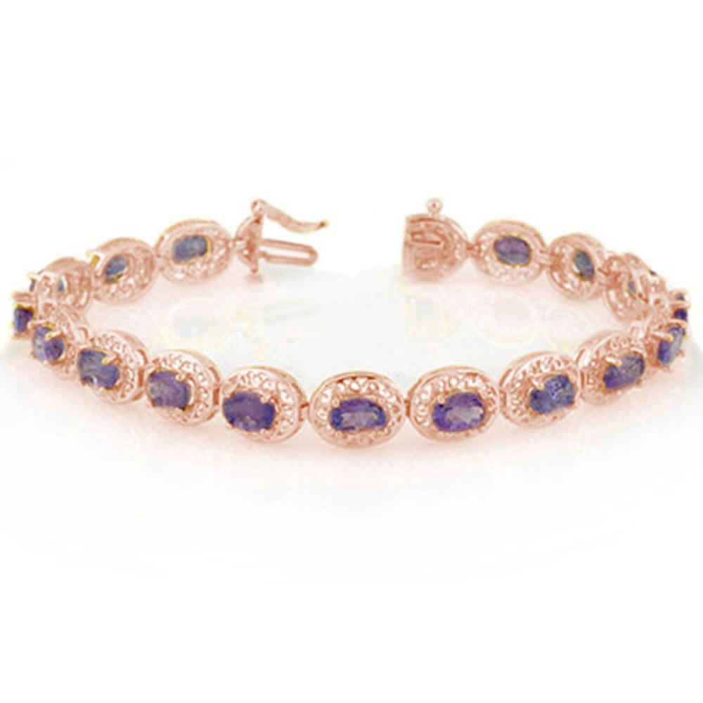 18.0 ctw Tanzanite Bracelet 14K Rose Gold - REF-123Y6X - SKU:11330