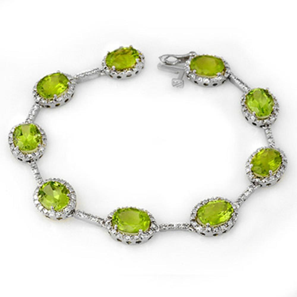 20.33 ctw Peridot & Diamond Bracelet 10K White Gold - REF-103N3A - SKU:11013