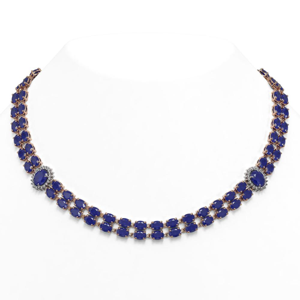 66.67 ctw Sapphire & Diamond Necklace 14K Rose Gold - REF-550Y5X - SKU:44346