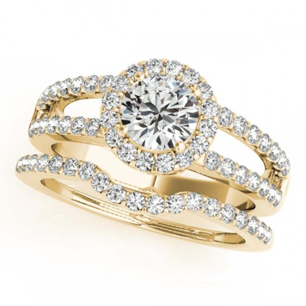 1.51 ctw VS/SI Diamond 2pc Wedding Set Halo 14K Yellow Gold - REF-171M7F - SKU:30881