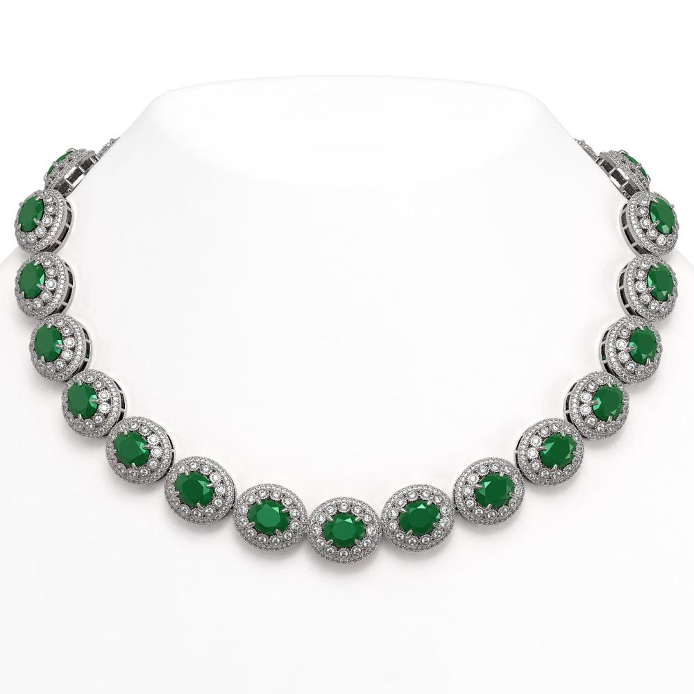 111.75 ctw Emerald & Diamond Necklace 14K White Gold - REF-3094X9R - SKU:43682