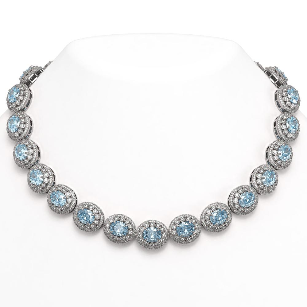 90.5 ctw Aquamarine & Diamond Necklace 14K White Gold - REF-3020Y2X - SKU:43694