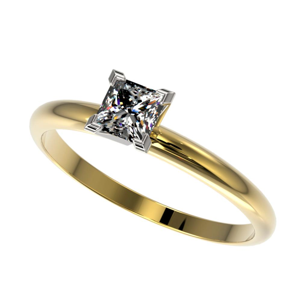 0.50 ctw VS/SI Princess Diamond Ring 10K Yellow Gold - REF-73M5F - SKU:32870