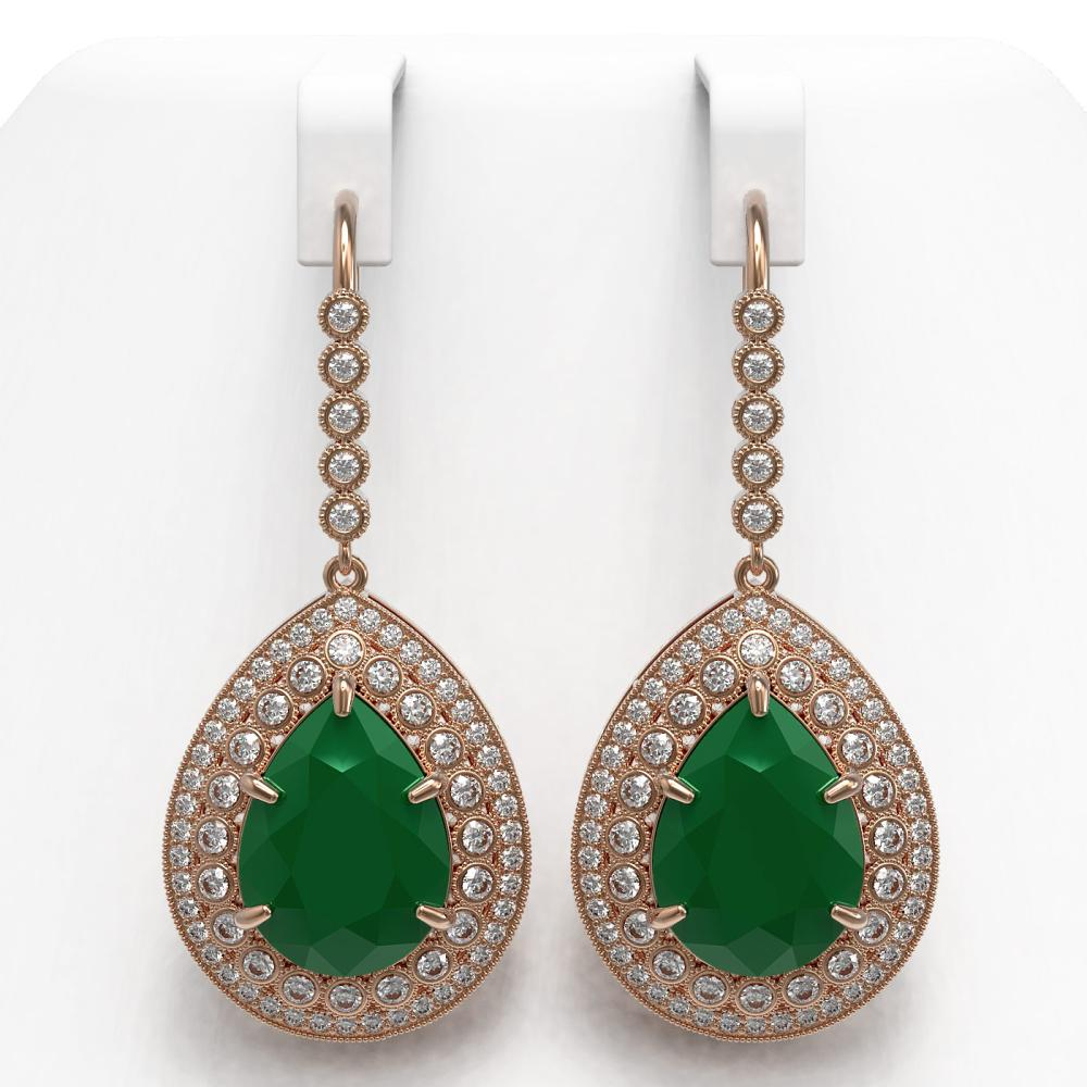 31.74 ctw Emerald & Diamond Earrings 14K Rose Gold - REF-694W5H - SKU:43299