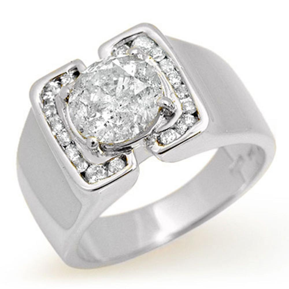 2.08 ctw Diamond Men's Ring 14K White Gold - REF-570R2K - SKU:14480