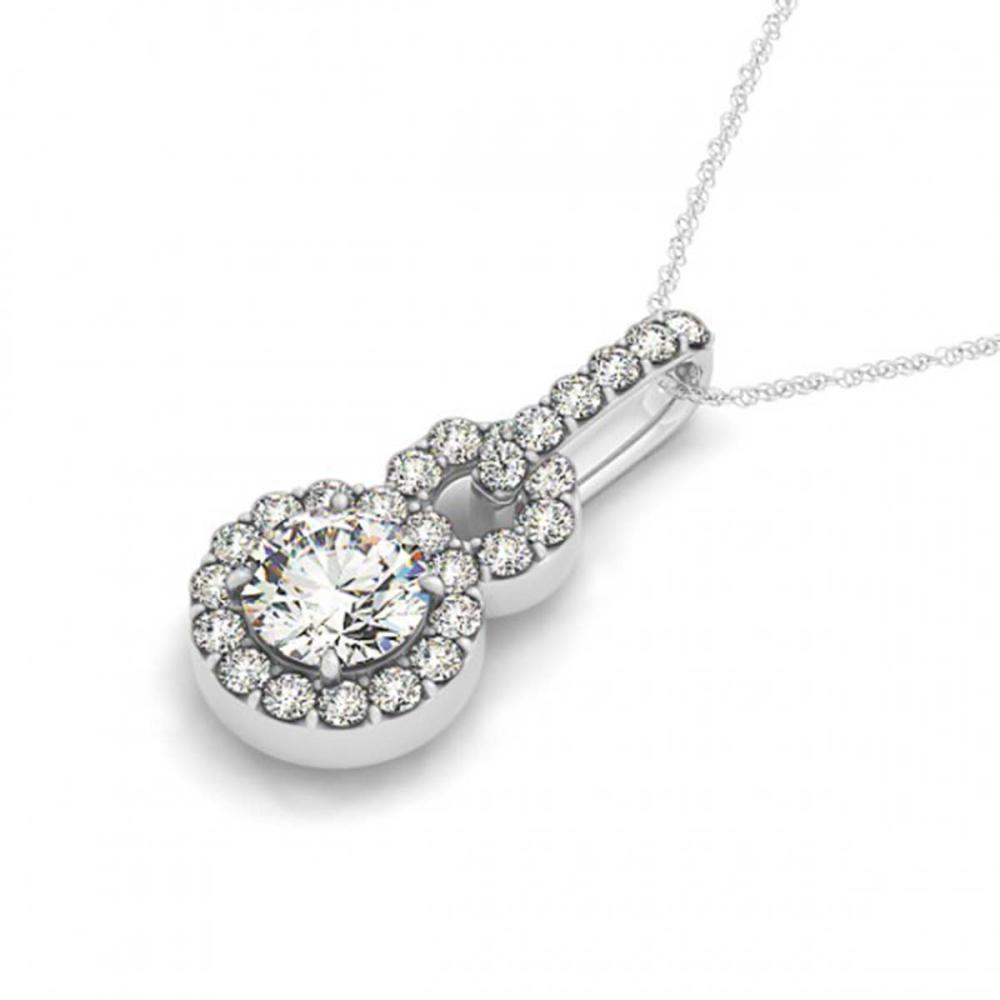 1.50 ctw VS/SI Diamond Solitaire Halo Necklace 14K White Gold - REF-297W9H - SKU:30185
