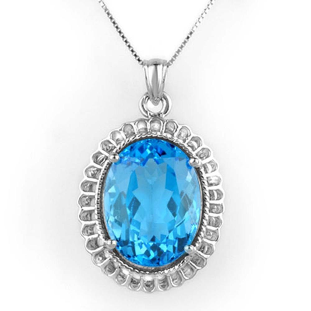 18.0 ctw Blue Topaz Necklace 14K White Gold - REF-72A4V - SKU:10507