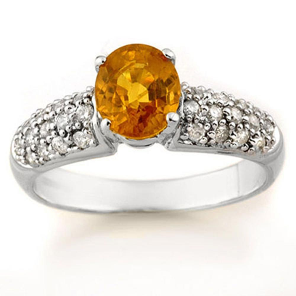 1.25 ctw Yellow Sapphire & Diamond Ring 14K White Gold - REF-56N4A - SKU:14316