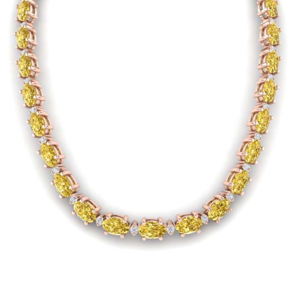 46.5 ctw Citrine & VS/SI Diamond Eternity Necklace 10K Rose Gold - REF-226V2Y - SKU:29420
