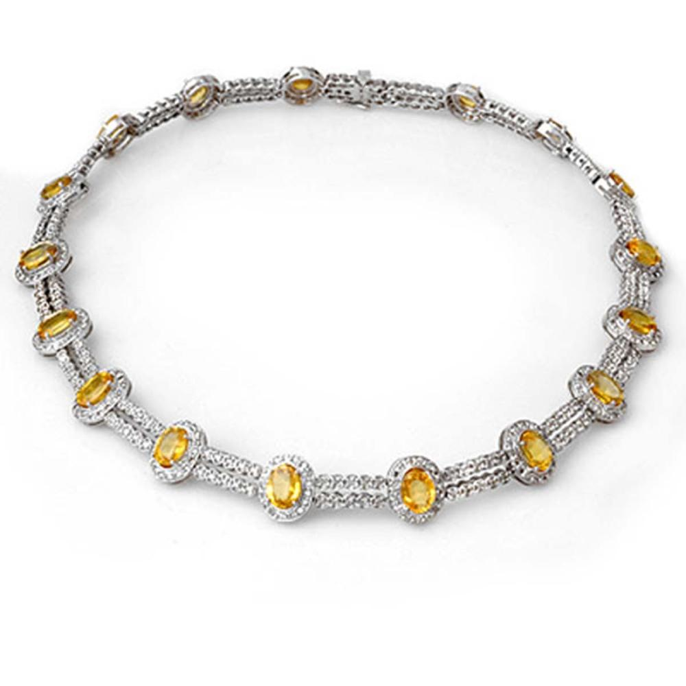 55.5 ctw Yellow Sapphire & Diamond Necklace 14K White Gold - REF-873F3N - SKU:10022