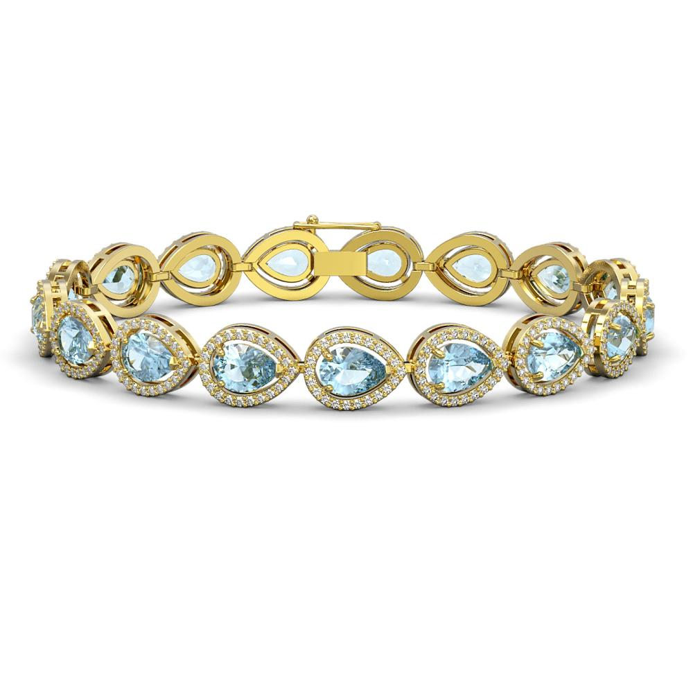 15.74 ctw Aquamarine & Diamond Halo Bracelet 10K Yellow Gold - REF-345M5F - SKU:41116