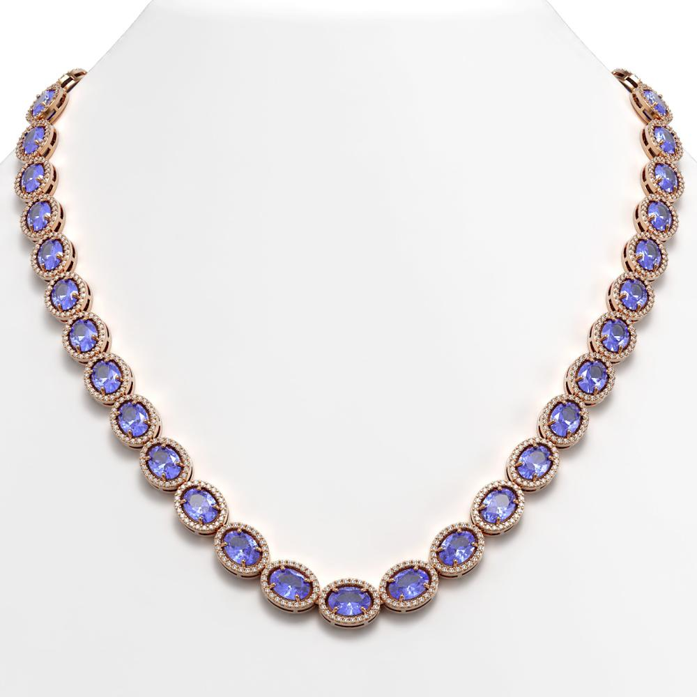48.65 ctw Tanzanite & Diamond Halo Necklace 10K Rose Gold - REF-797V3Y - SKU:40563