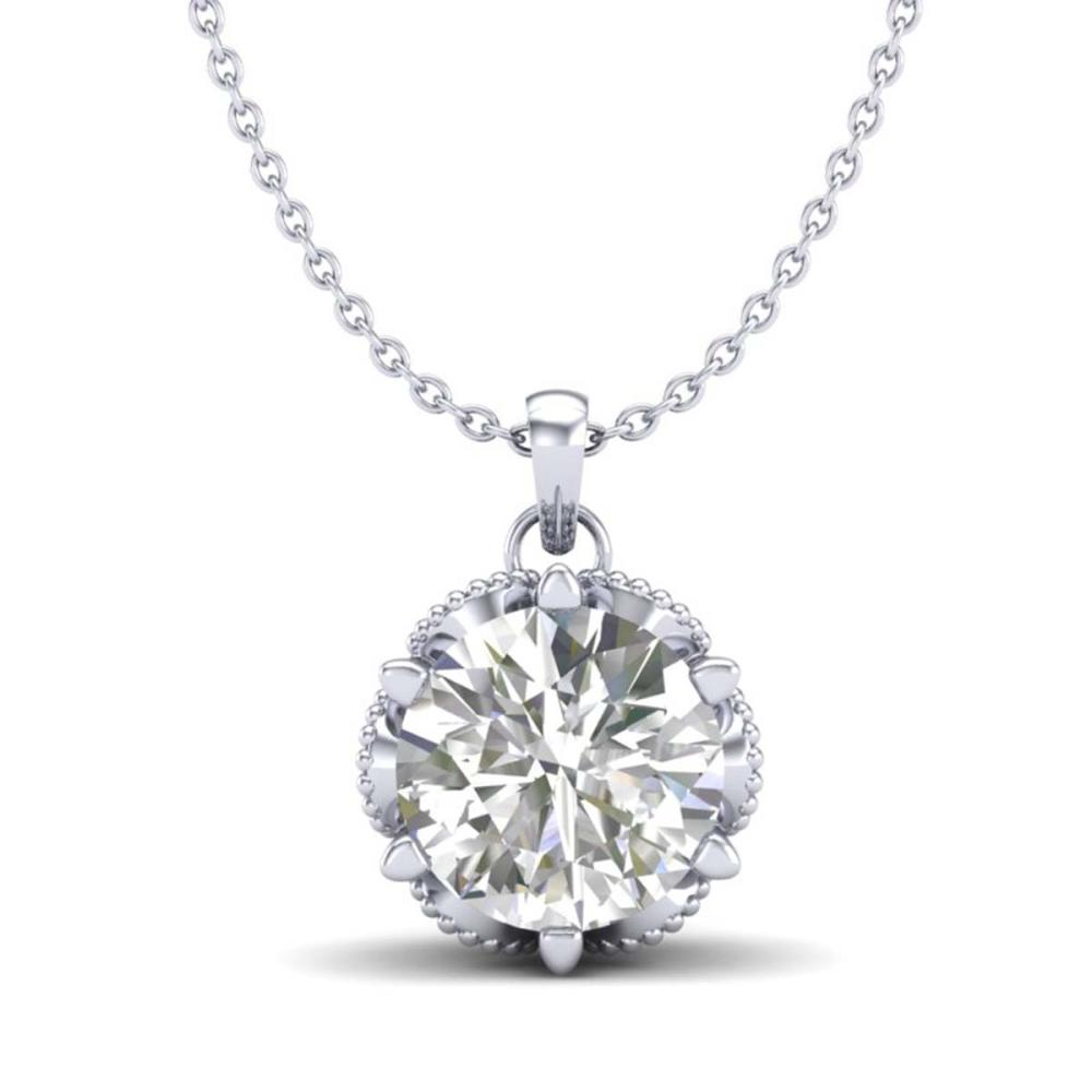 1.36 ctw VS/SI Diamond Solitaire Art Deco Necklace 18K White Gold - REF-361M8F - SKU:37244