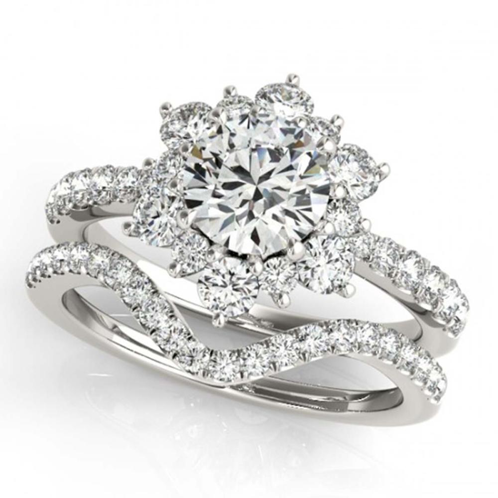 1.31 ctw VS/SI Diamond 2pc Wedding Set Halo 14K White Gold - REF-114K7W - SKU:30939