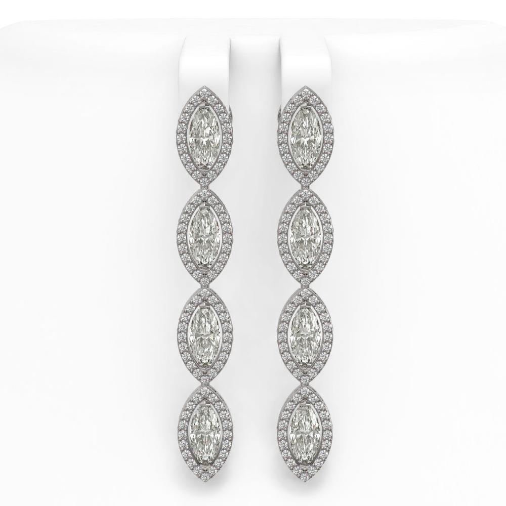 6.08 ctw Marquise Diamond Earrings 18K White Gold - REF-852M3F - SKU:42746