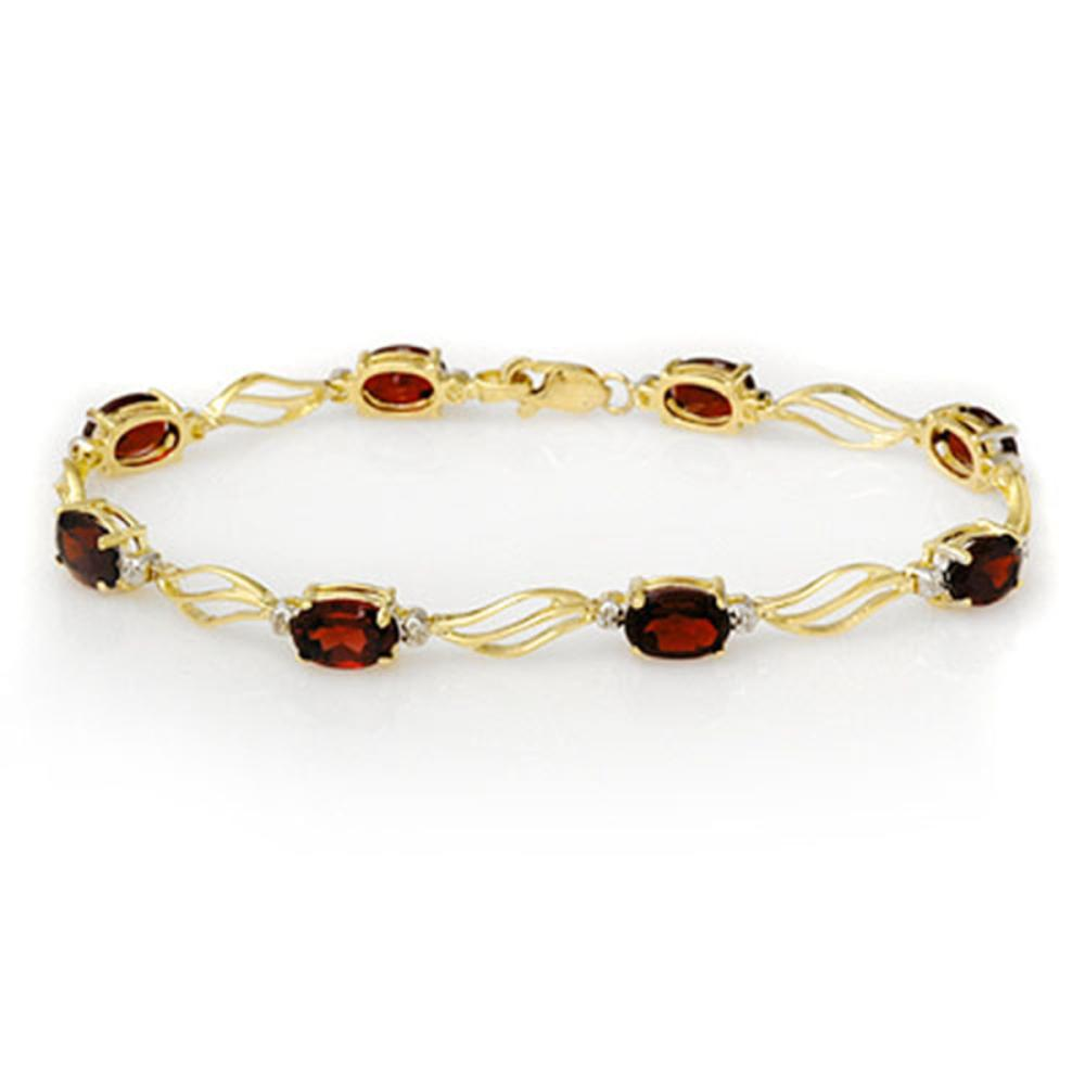 8.02 ctw Garnet & Diamond Bracelet Solid 10K Yellow Gold - REF-36A4V - SKU:10818