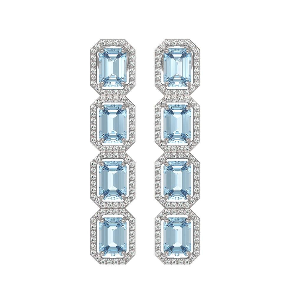 11.13 ctw Sky Topaz & Diamond Halo Earrings 10K White Gold - REF-147N5A - SKU:41456