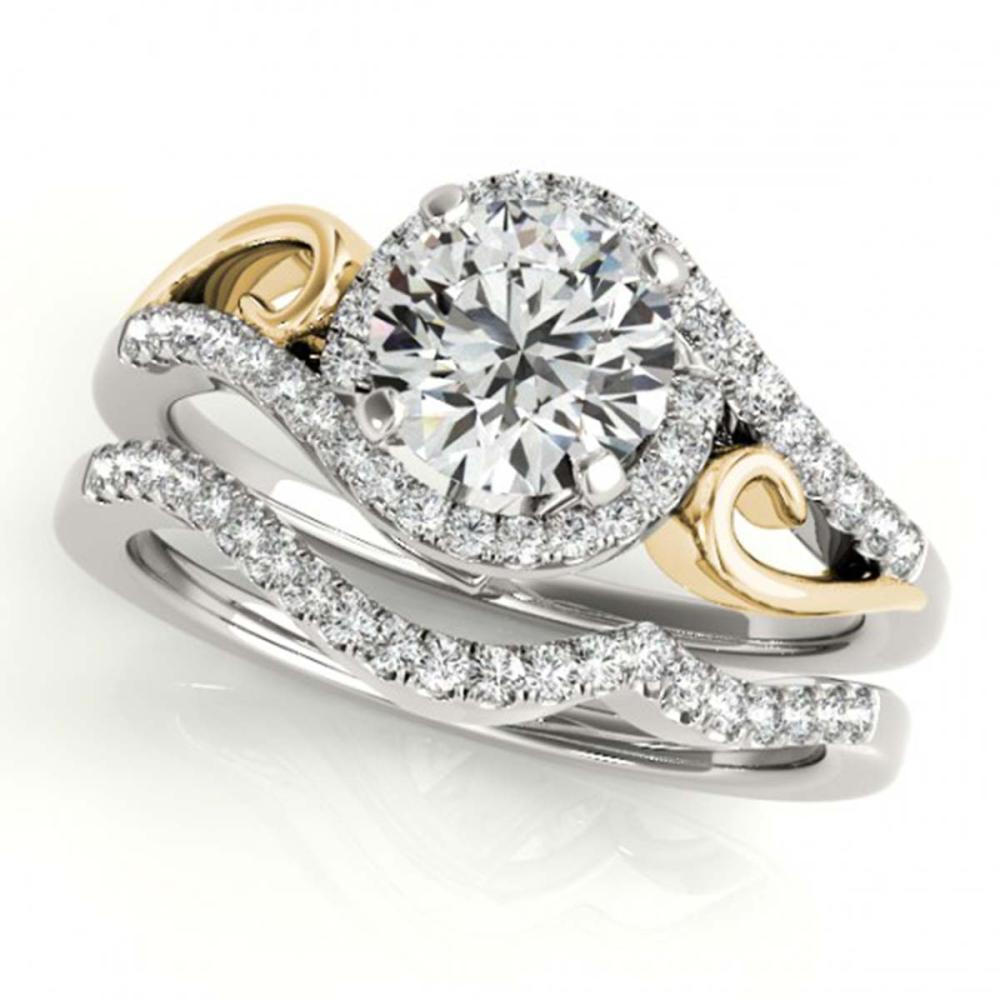 0.95 ctw VS/SI Diamond 2pc Set Solitaire Halo 14K White & Yellow Gold - REF-114Y5X - SKU:31200