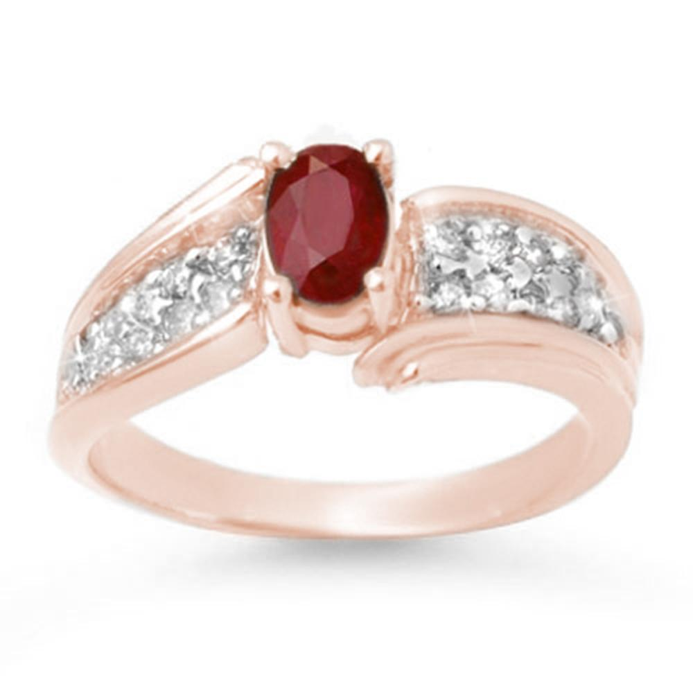 1.43 ctw Ruby & Diamond Ring 14K Rose Gold - REF-56Y7X - SKU:13343