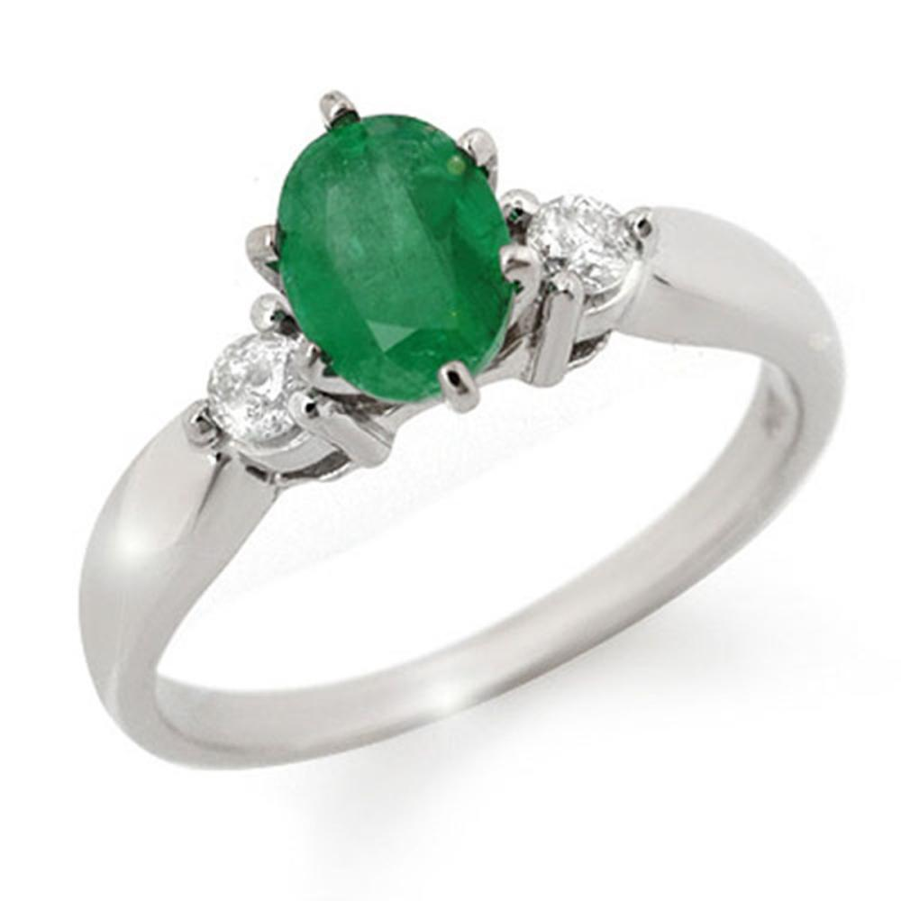 1.20 ctw Emerald & Diamond Ring 14K White Gold - REF-43M6F - SKU:11775