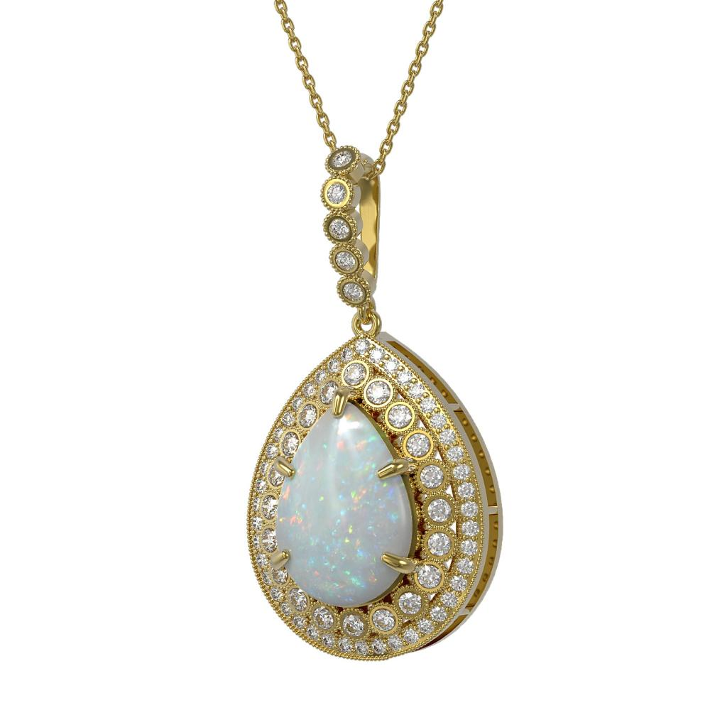 10.77 ctw Opal & Diamond Necklace 14K Yellow Gold - REF-313X3R - SKU:43333