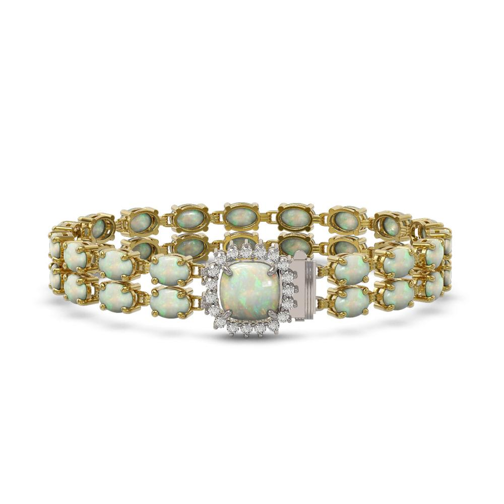 14.41 ctw Opal & Diamond Bracelet 14K Yellow Gold - REF-202H4M - SKU:45610