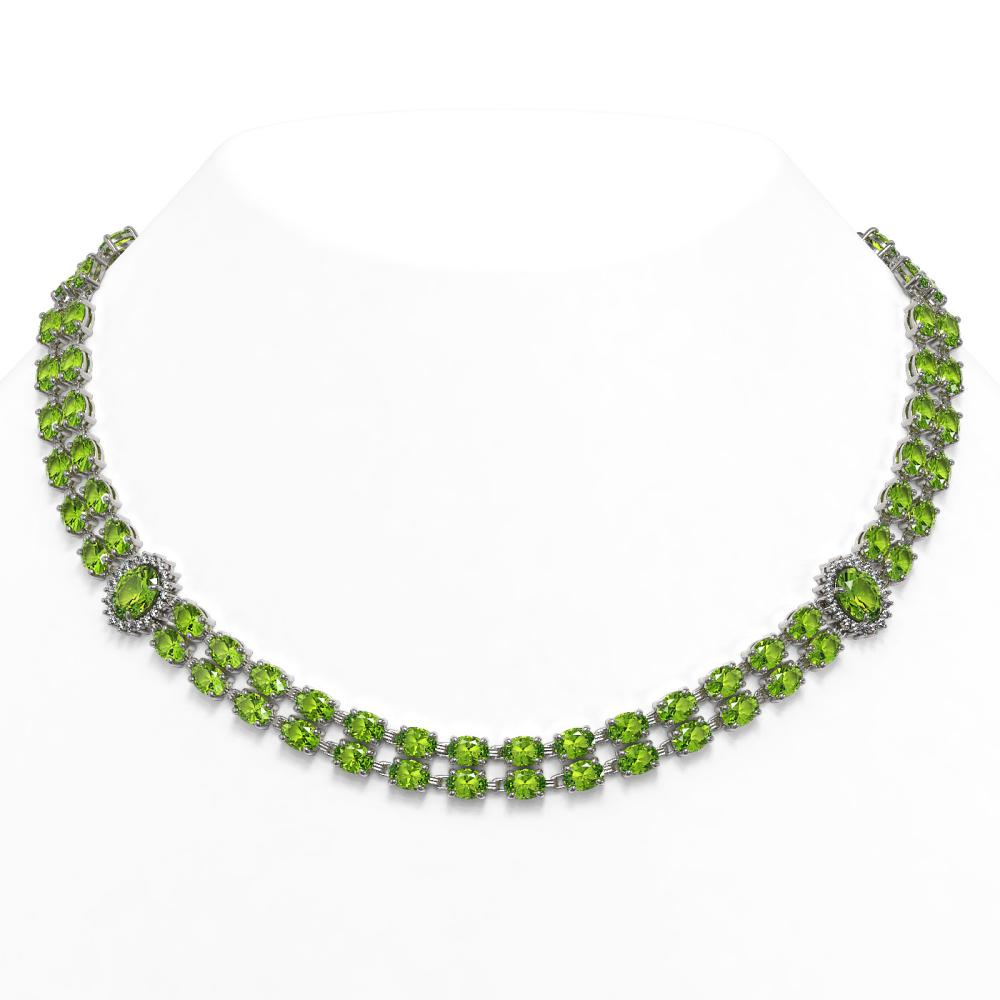 58.69 ctw Peridot & Diamond Necklace 14K White Gold - REF-564F4N - SKU:44366