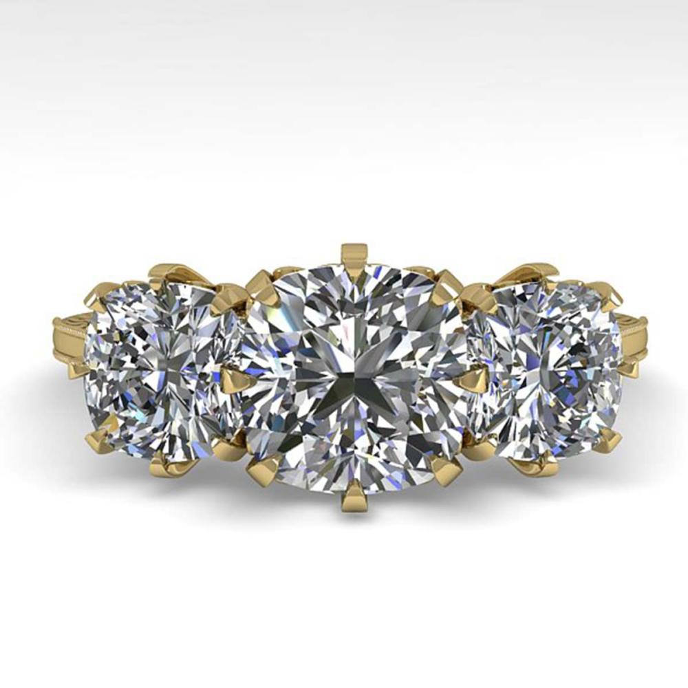 2 ctw Past Present Future VS/SI Cushion Diamond Ring 18K Yellow Gold - REF-435W2H - SKU:35788