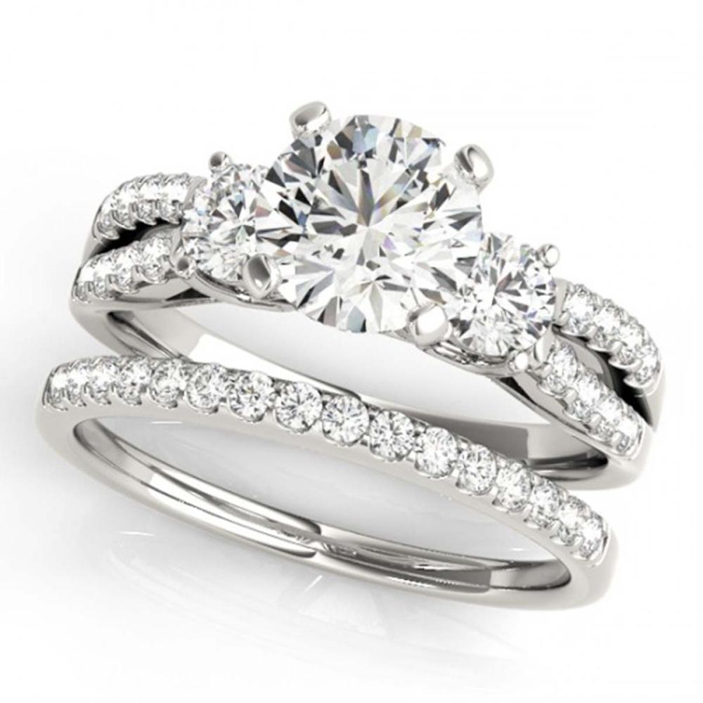 1.46 ctw VS/SI Diamond 3 Stone 2pc Wedding Set 14K White Gold - REF-168H3M - SKU:32039