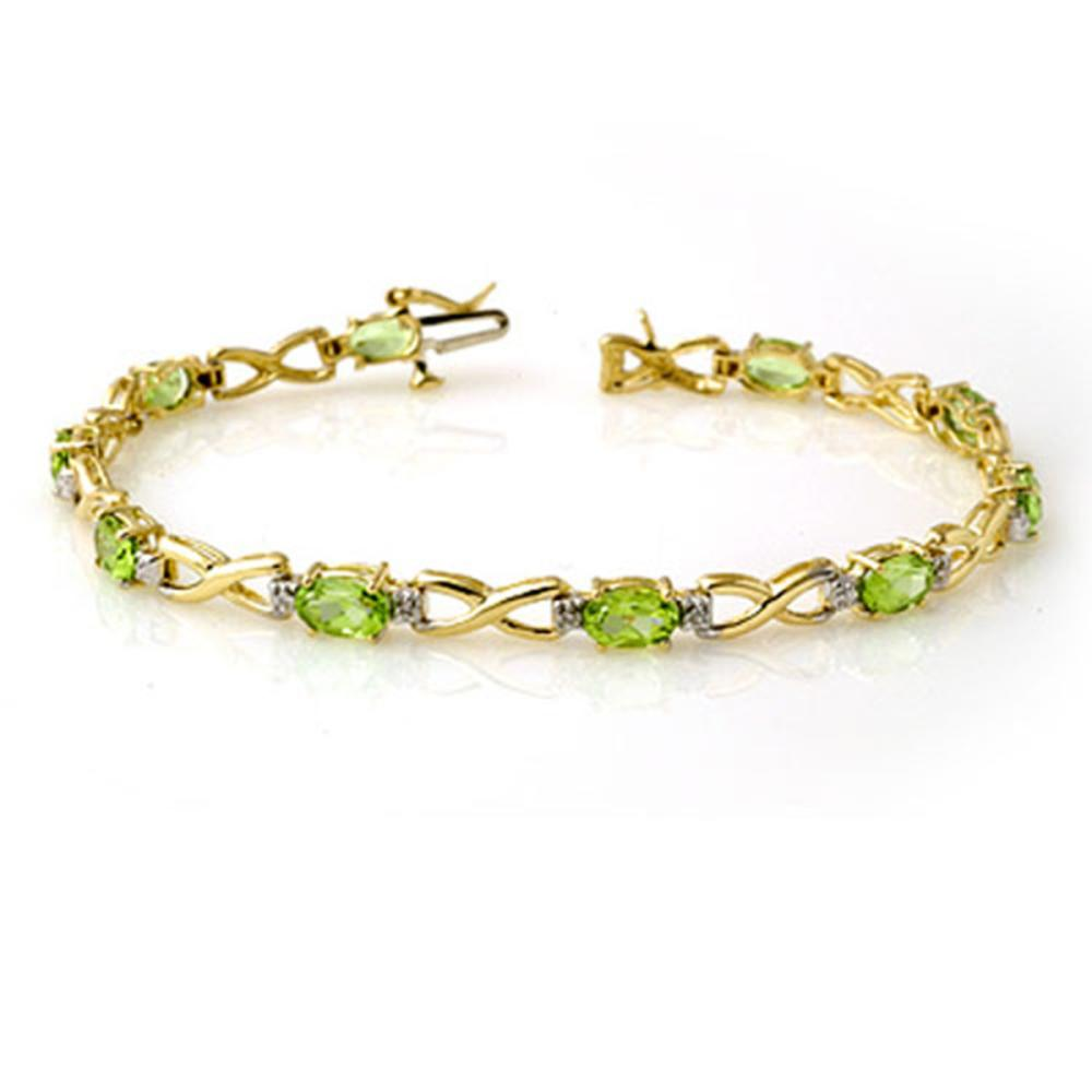 5.03 ctw Peridot & Diamond Bracelet 10K Yellow Gold - REF-69N3A - SKU:13451