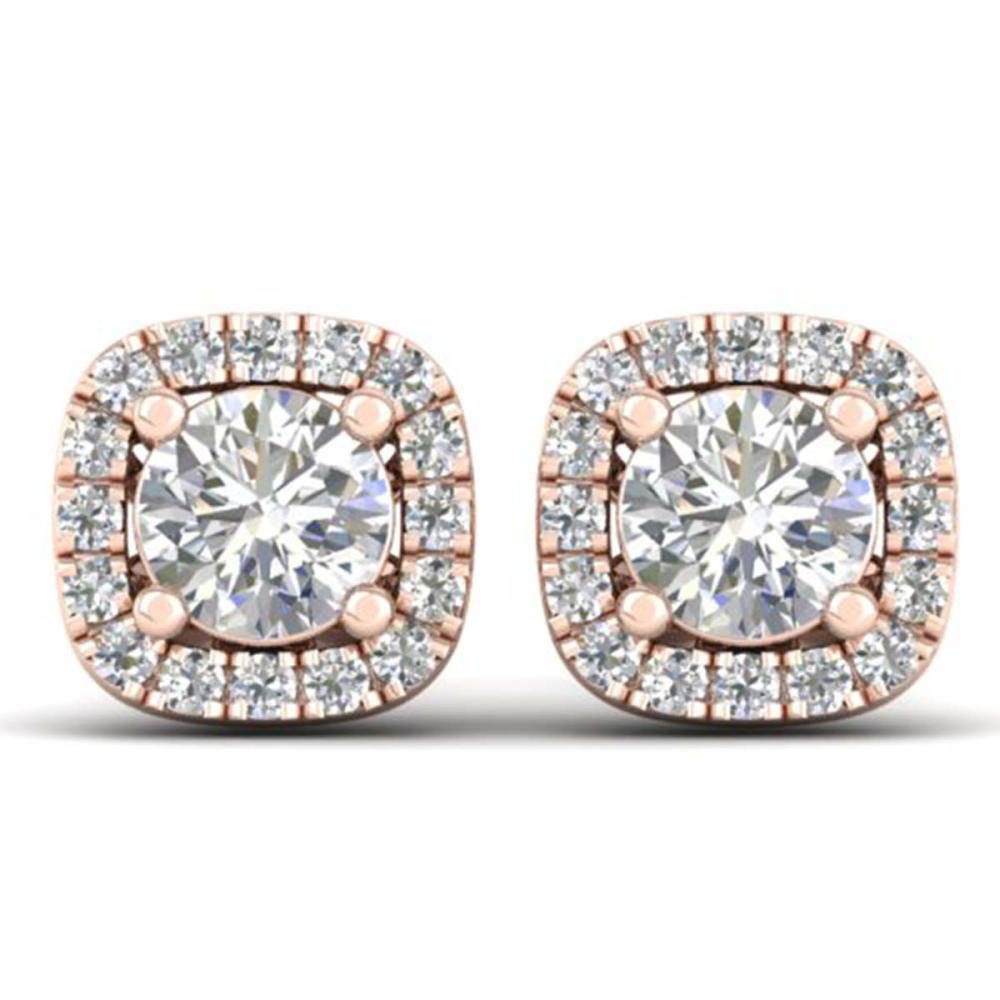 1.08 ctw VS/SI Diamond Stud Halo Earrings 14K Rose Gold - REF-103X3R - SKU:30421