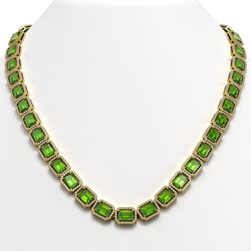 57.3 ctw Peridot & Diamond Halo Necklace 10K Yellow Gold - REF-819H6M - SKU:41359
