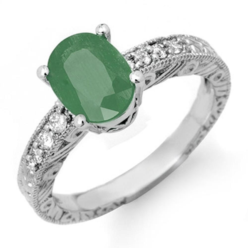 2.56 ctw Emerald & Diamond Ring 14K White Gold - REF-49K6W - SKU:14151