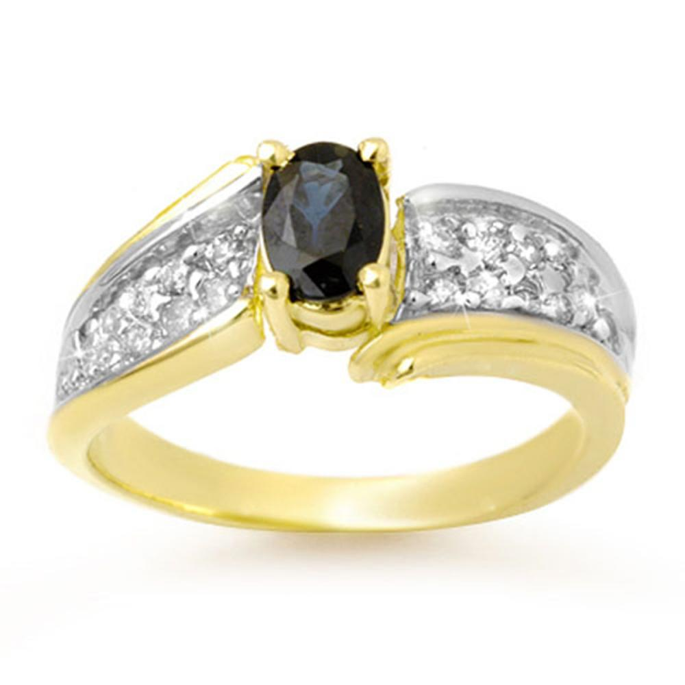 1.40 ctw Blue Sapphire & Diamond Ring 10K Yellow Gold - REF-46N4A - SKU:13315