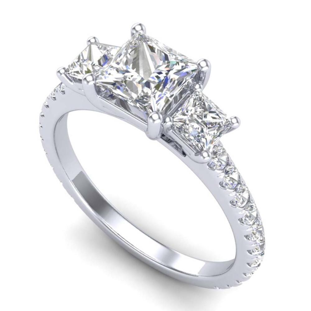 2.14 ctw Princess VS/SI Diamond Art Deco 3 Stone Ring 18K White Gold - REF-454R5K - SKU:37205