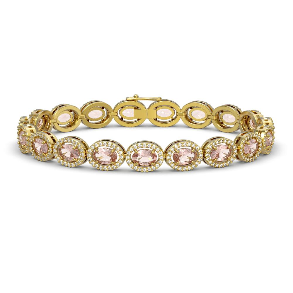 14.25 ctw Morganite & Diamond Halo Bracelet 10K Yellow Gold - REF-294R2K - SKU:40465
