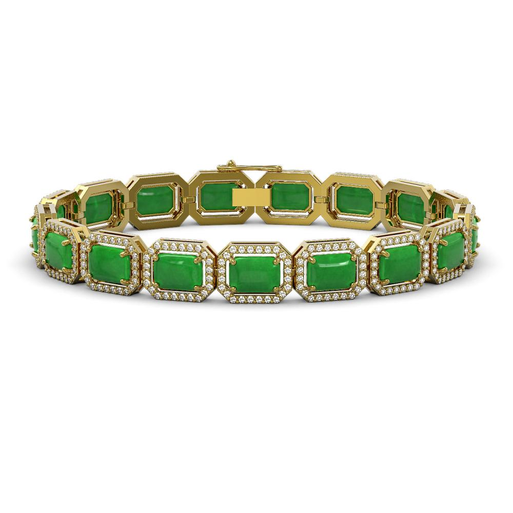 25.36 ctw Jade & Diamond Halo Bracelet 10K Yellow Gold - REF-301M3F - SKU:46068