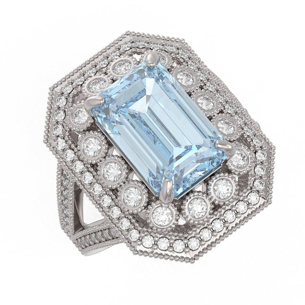 5.69 ctw Aquamarine & Diamond Ring 14K White Gold - REF-179A6V - SKU:43376