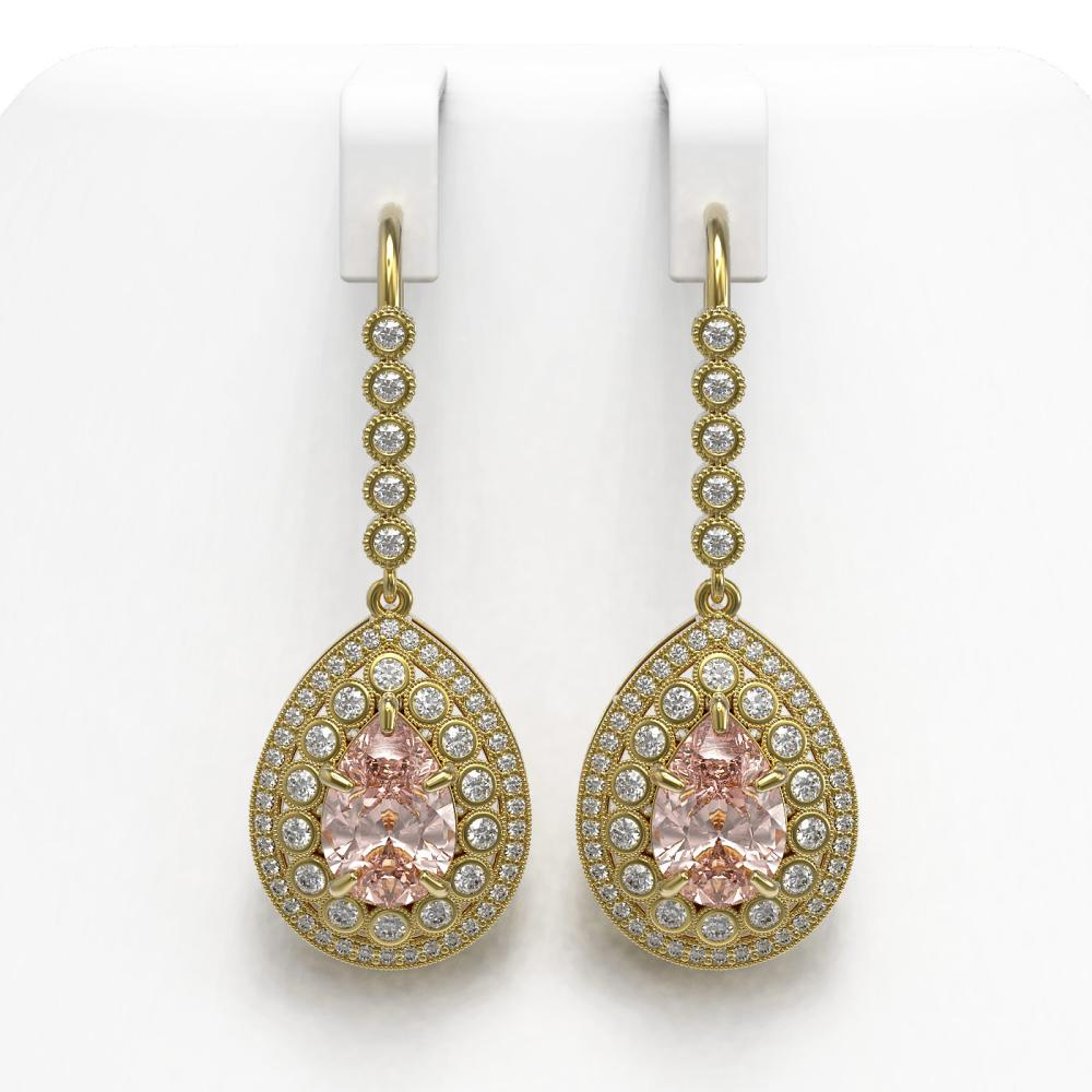 8.35 ctw Morganite & Diamond Earrings 14K Yellow Gold - REF-364A2V - SKU:43171
