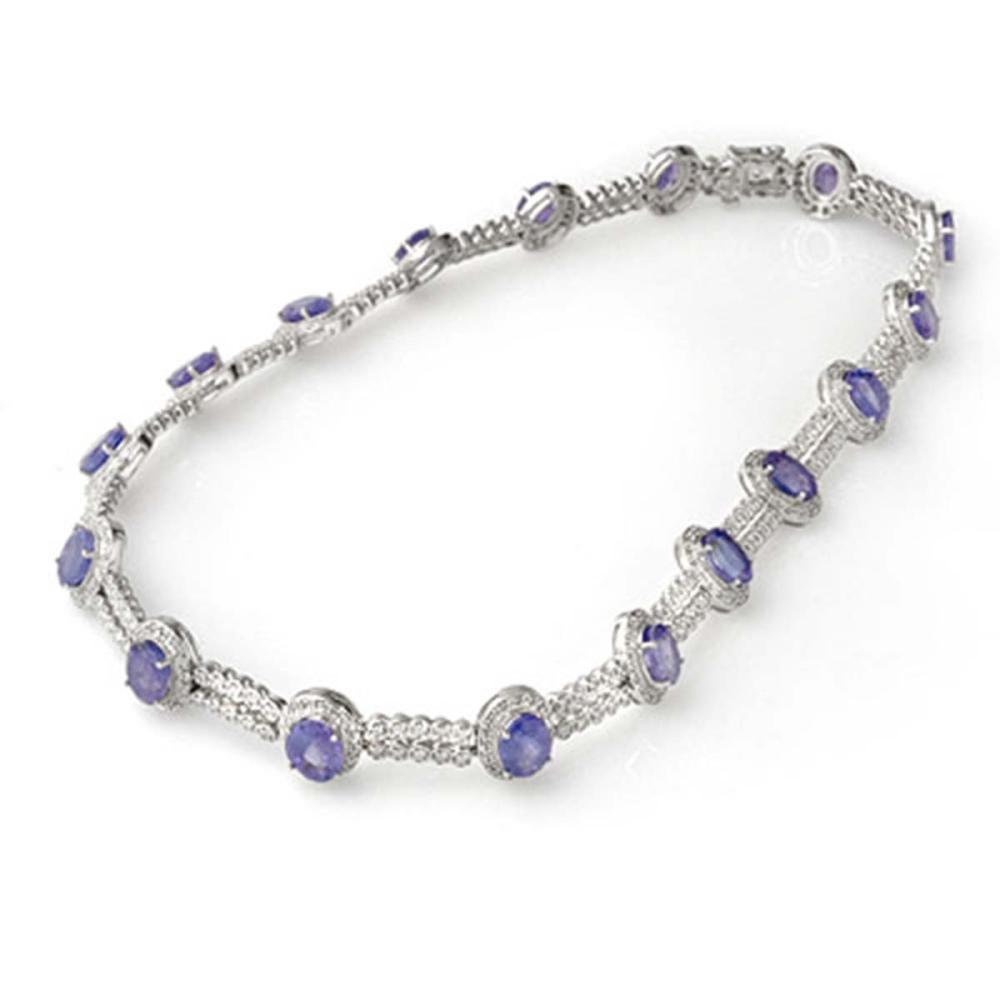 45.0 ctw Tanzanite & Diamond Necklace 18K White Gold - REF-1188M5F - SKU:11763