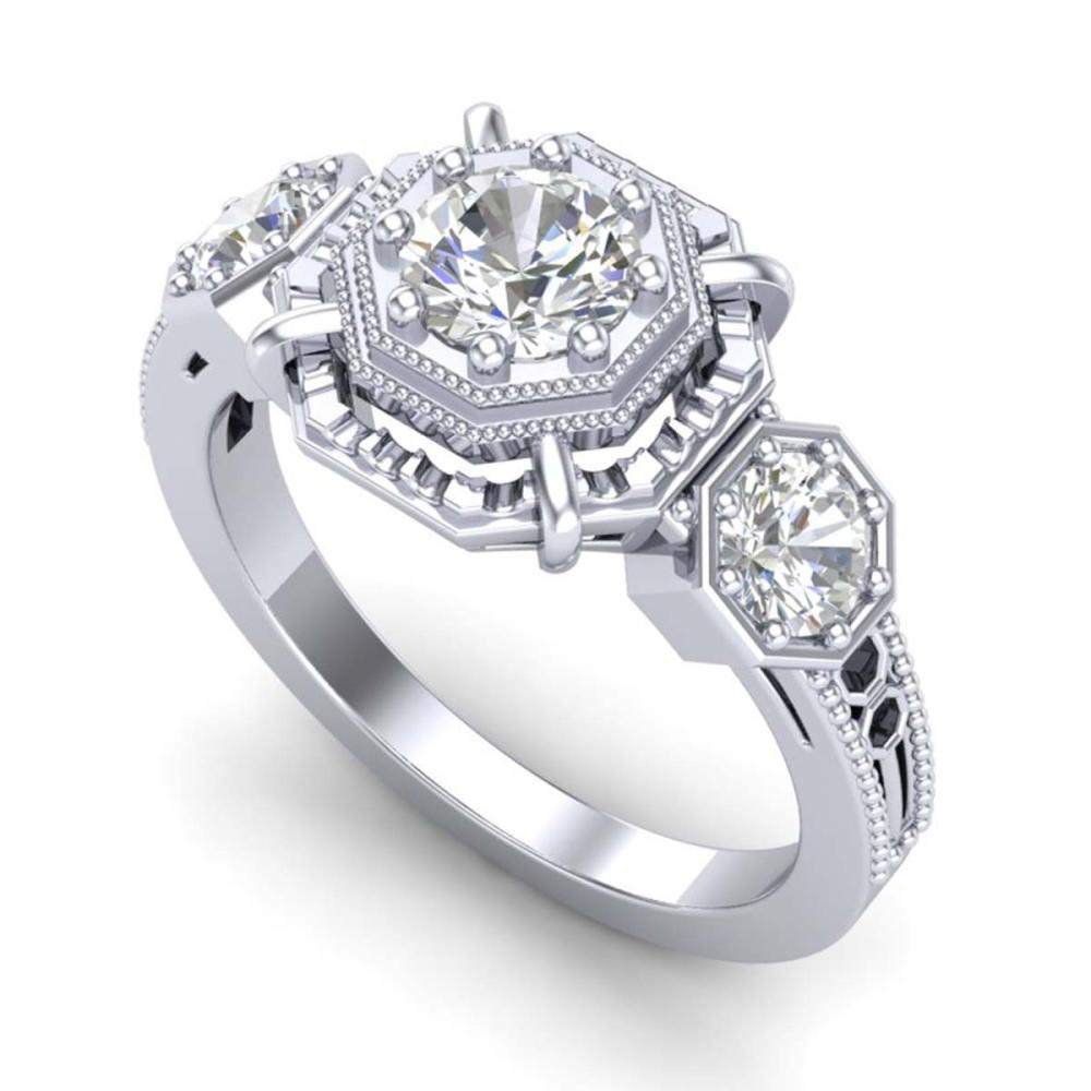 1.01 ctw VS/SI Diamond Solitaire Art Deco 3 Stone Ring 18K White Gold - REF-170K9W - SKU:36881