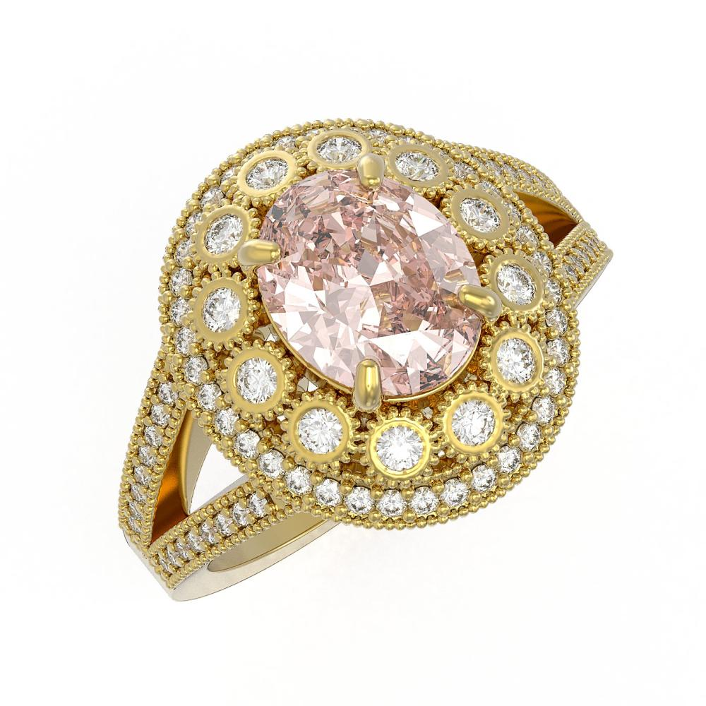 3.95 ctw Morganite & Diamond Ring 14K Yellow Gold - REF-176Y7X - SKU:43600