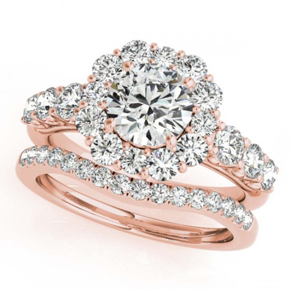 3.16 ctw VS/SI Diamond 2pc Wedding Set Halo 14K Rose Gold - REF-538V6Y - SKU:30727