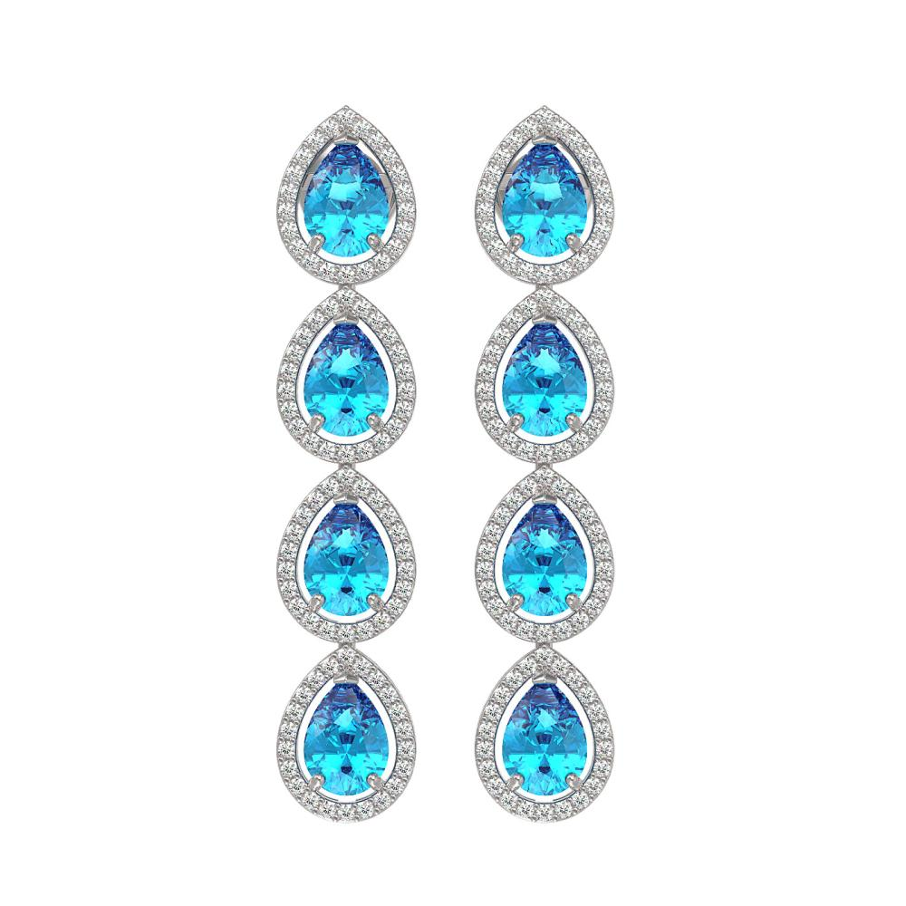 7.81 ctw Swiss Topaz & Diamond Halo Earrings 10K White Gold - REF-137X3R - SKU:41171