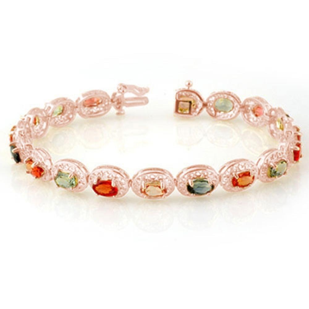 12.90 ctw Multi-Color Sapphire Bracelet 10K Rose Gold - REF-85W3H - SKU:11705