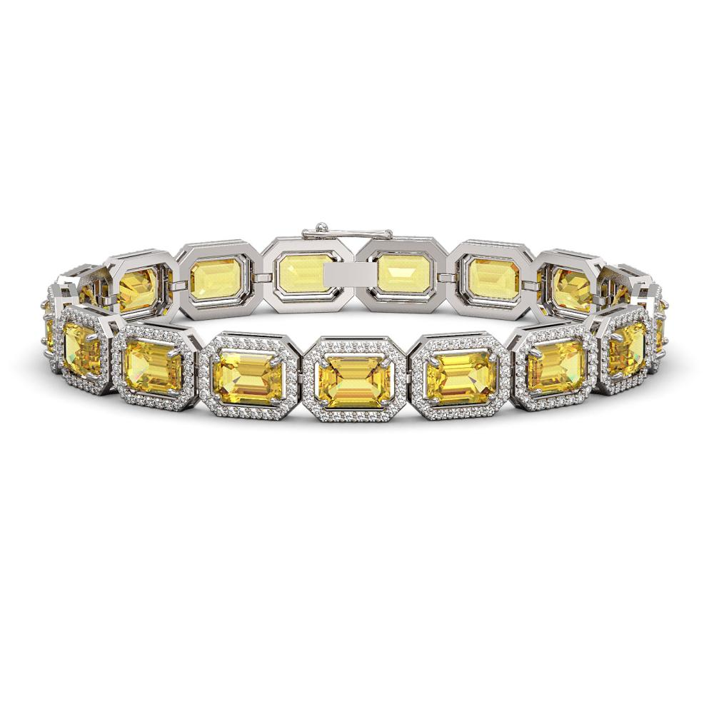 23.74 ctw Fancy Citrine & Diamond Halo Bracelet 10K White Gold - REF-303N8A - SKU:41420