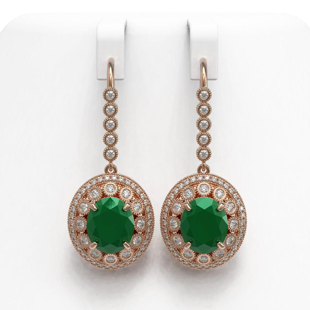 17.22 ctw Emerald & Diamond Earrings 14K Rose Gold - REF-391R3K - SKU:43764