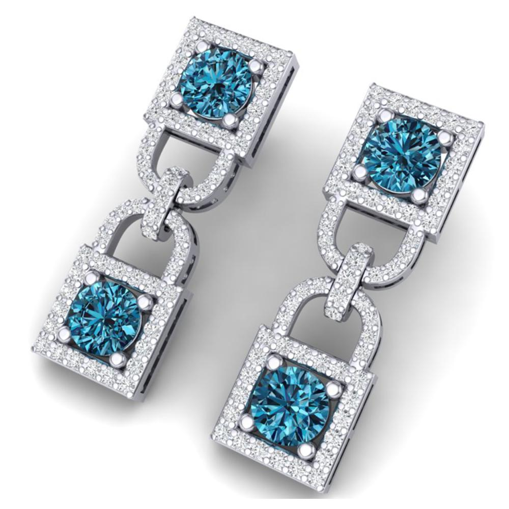 4 ctw SI/I Intense Blue And Diamond Earrings 18K White Gold - REF-292N5A - SKU:40160