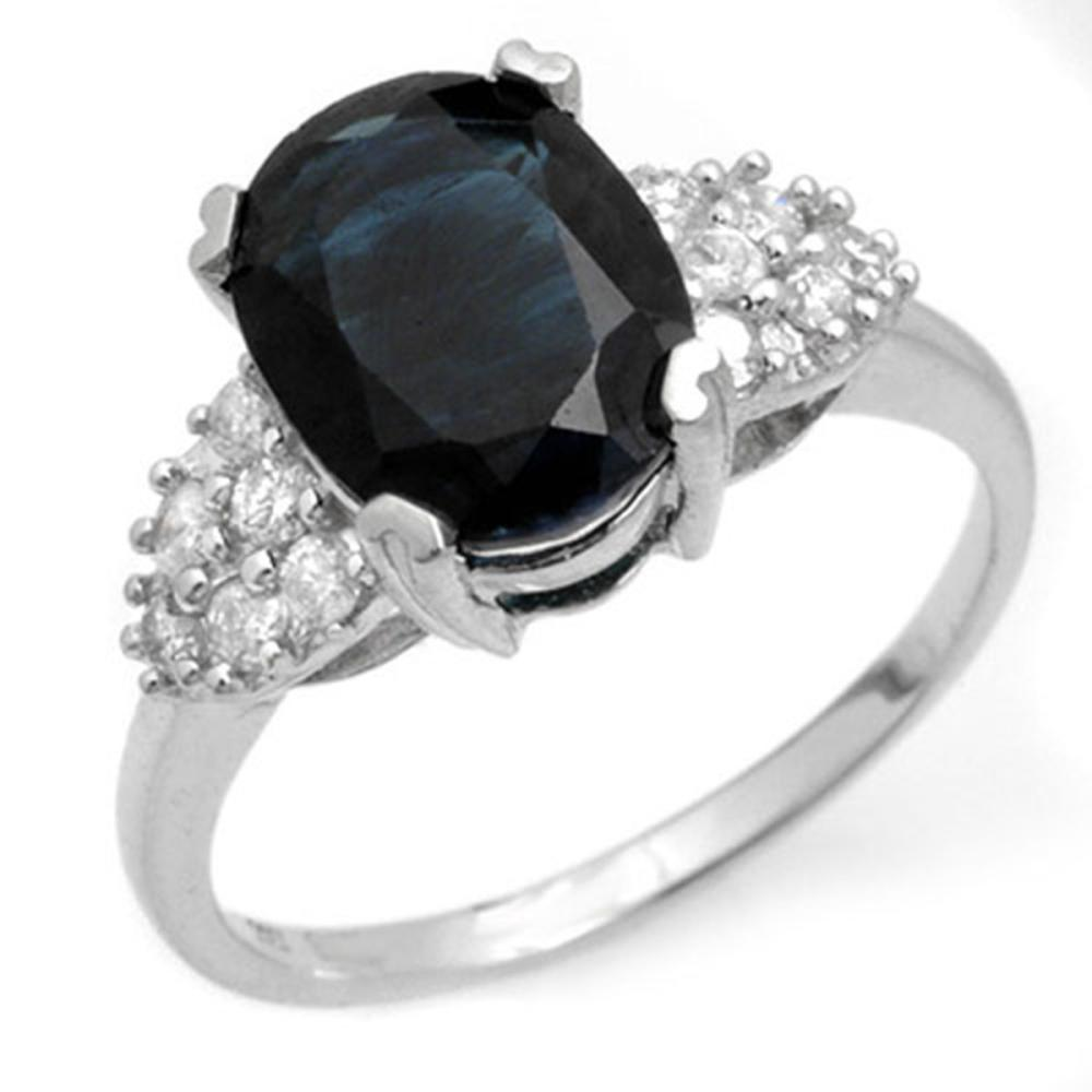3.80 ctw Blue Sapphire & Diamond Ring 14K White Gold - REF-63N6A - SKU:12465