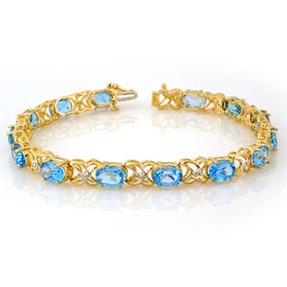 13.55 ctw Blue Topaz & Diamond Bracelet 10K Yellow Gold - REF-68R2K - SKU:10572